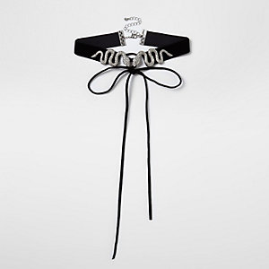Black velvet snake corset choker