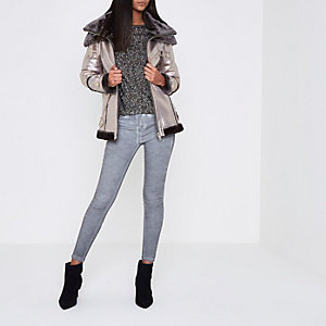 Silver cracked coated metallic aviator jacket