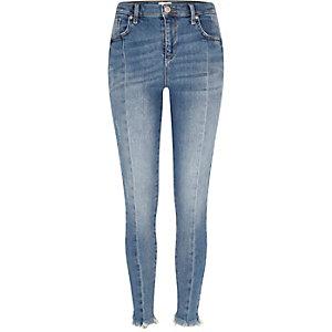 Amelie - Middenblauwe superskinny jeans met gerafelde zoom