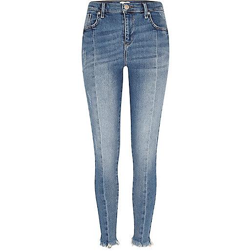 Mid blue frayed hem Amelie super skinny jeans