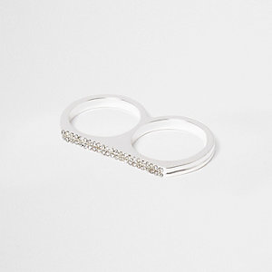 White diamante double finger ring