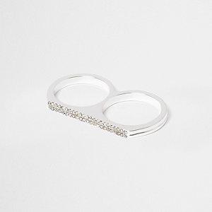 Witte dubbele ring met siersteentjes