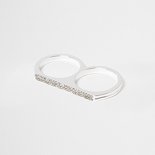 White rhinestone double finger ring