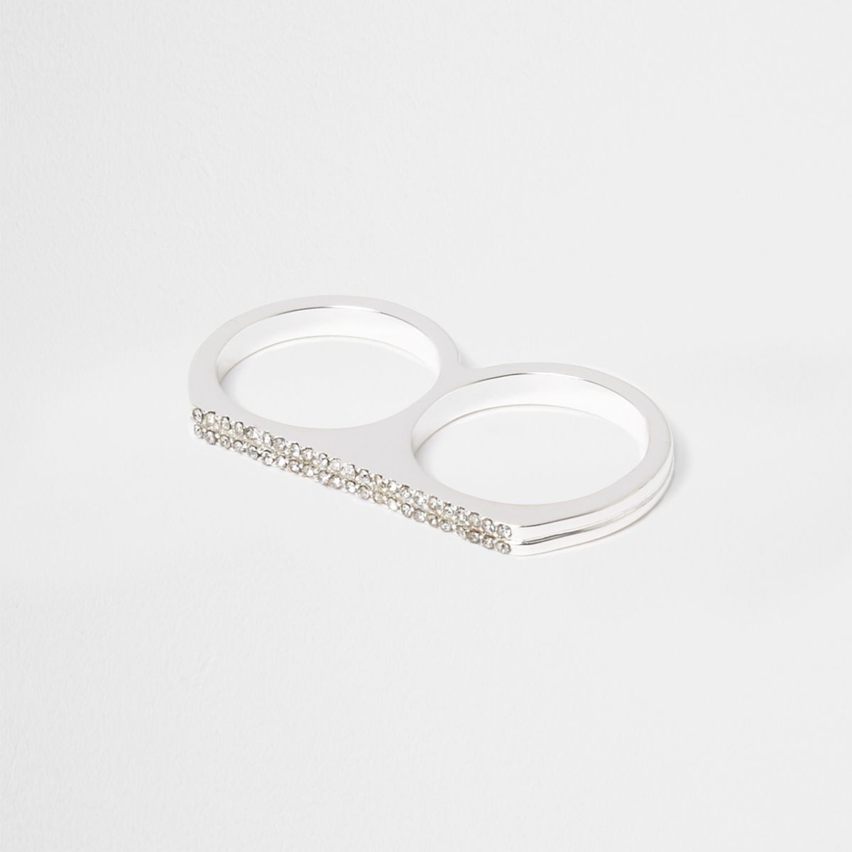 White diamante double finger ring