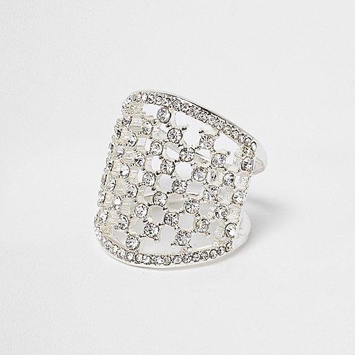 White and silver tone diamante cage ring