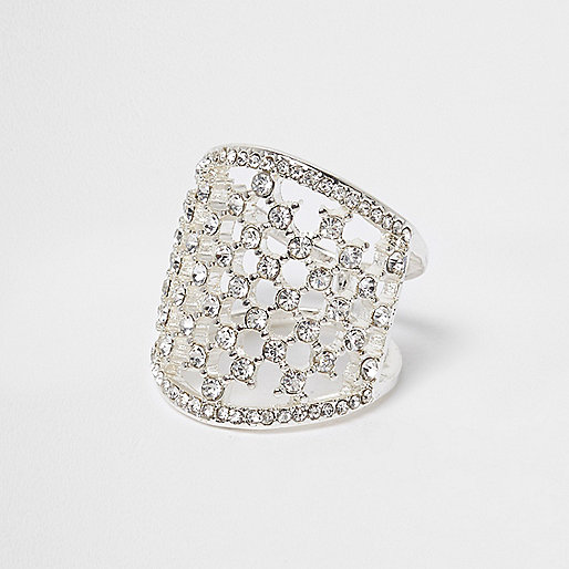 White and silver tone rhinestone cage ring