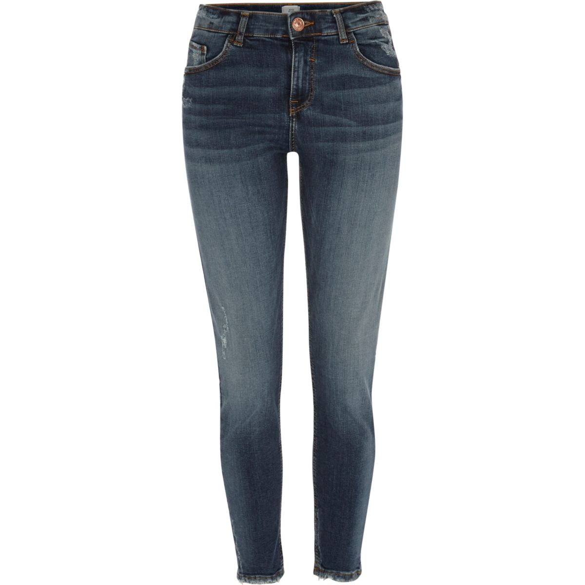 Dark blue Alannah ripped relaxed skinny jeans