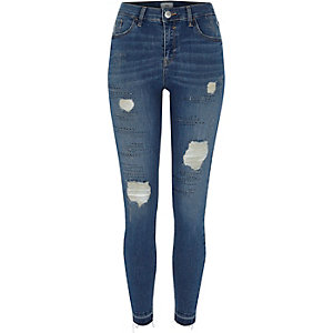Amelie – Superskinny Jeans in dunkelblauer Waschung im Used-Look