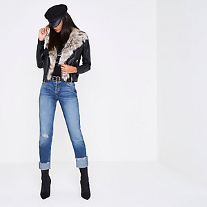 Black faux fur trim biker jacket