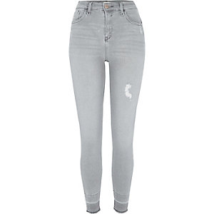 Grey Amelie released hems super skinny jeans