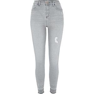 Amelie- Grijze superskinny jeans met uitgelegde zoom
