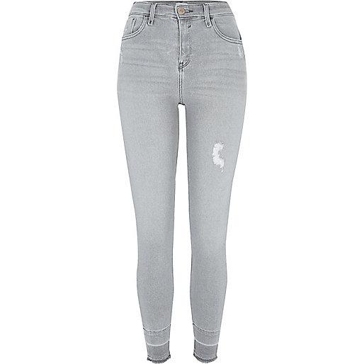 Grey Amelie released hems super skinny jeans