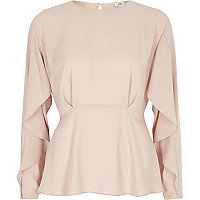 Light pink frill long sleeve blouse