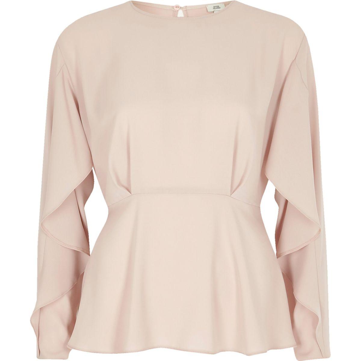Light pink frill long sleeve blouse