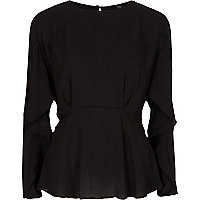Black frill long sleeve blouse