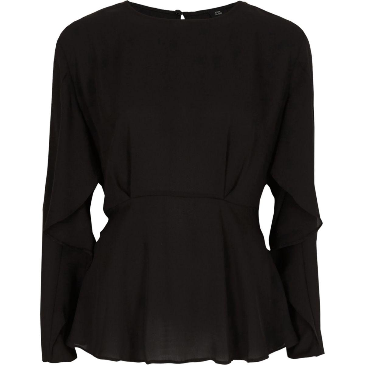 Black frill long sleeve blouse