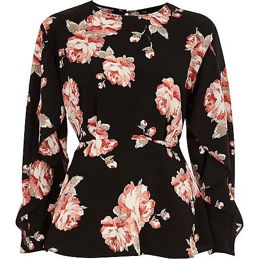Zwarte blouse met bloemenprint en ruches aan de mouwen