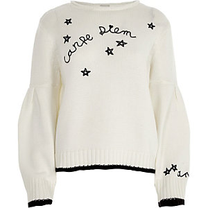 White 'carpe diem' balloon sleeve sweater