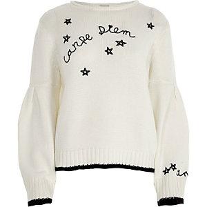 Witte pullover met ballonmouwen en 'Carpe diem'-print
