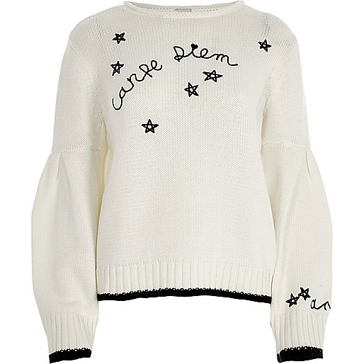 White 'carpe diem' balloon sleeve jumper
