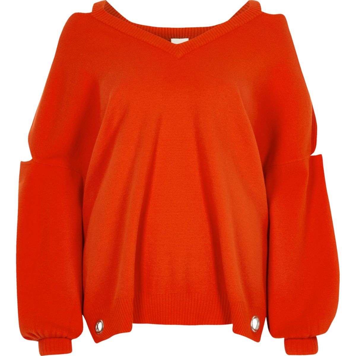 Red knit cut out sweater