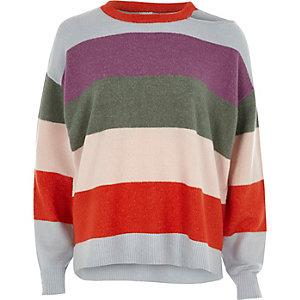 Pullover mit Streifen mit Zierausschnitten