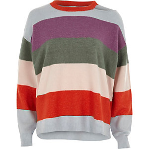 Pull violet à rayures multicolores avec découpes