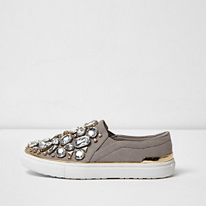 Grey jewel embellished slip on plimsolls