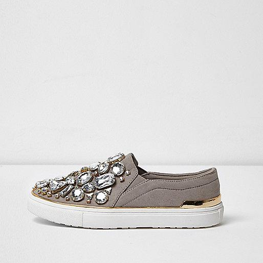 Grey jewel embellished slip on plimsolls
