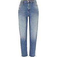 Bella - Middenblauwe jeans met rechte pijpen en gerafelde zoom