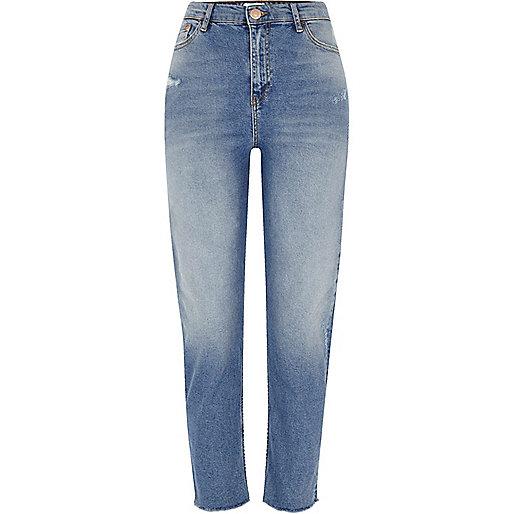 Mid blue Bella frayed hem straight leg jeans