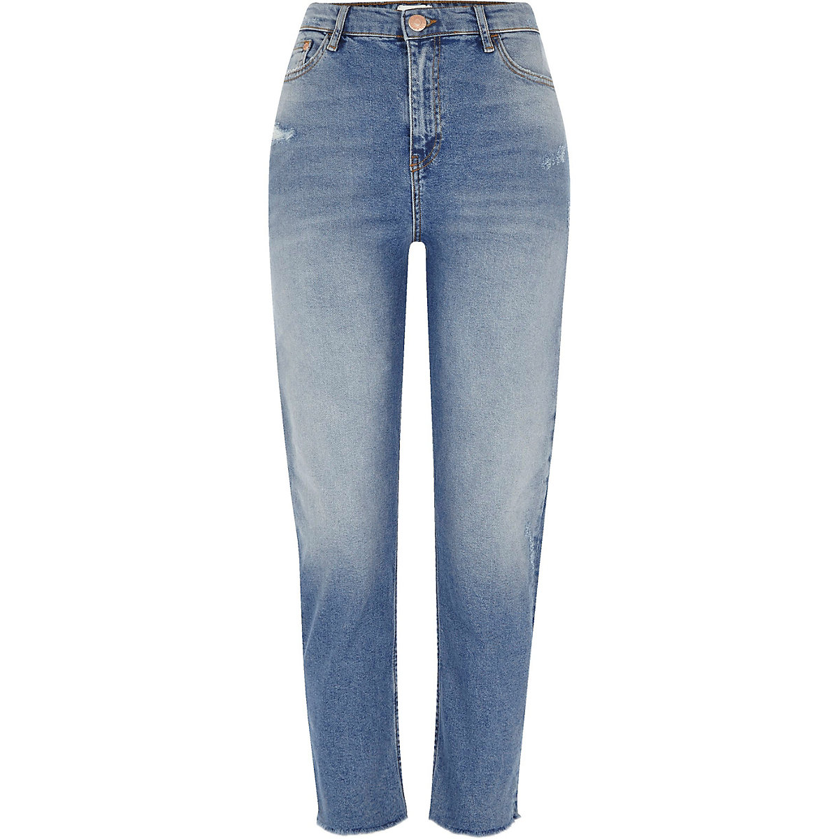 Mid blue Bella frayed hem straight leg jeans