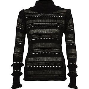 Black pointelle knit turtle neck jumper