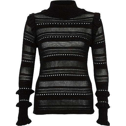 Black pointelle knit turtle neck jumper