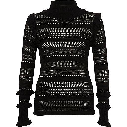 Black pointelle knit turtle neck sweater