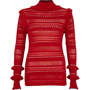Red pointelle knit turtle neck jumper