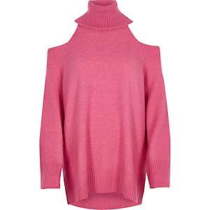 Lang geschnittener, schulterfreier Rollkragenpullover in Pink