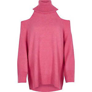 Pink cold shoulder roll neck longline sweater