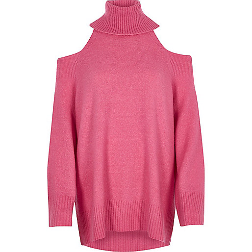 Pink cold shoulder roll neck longline jumper