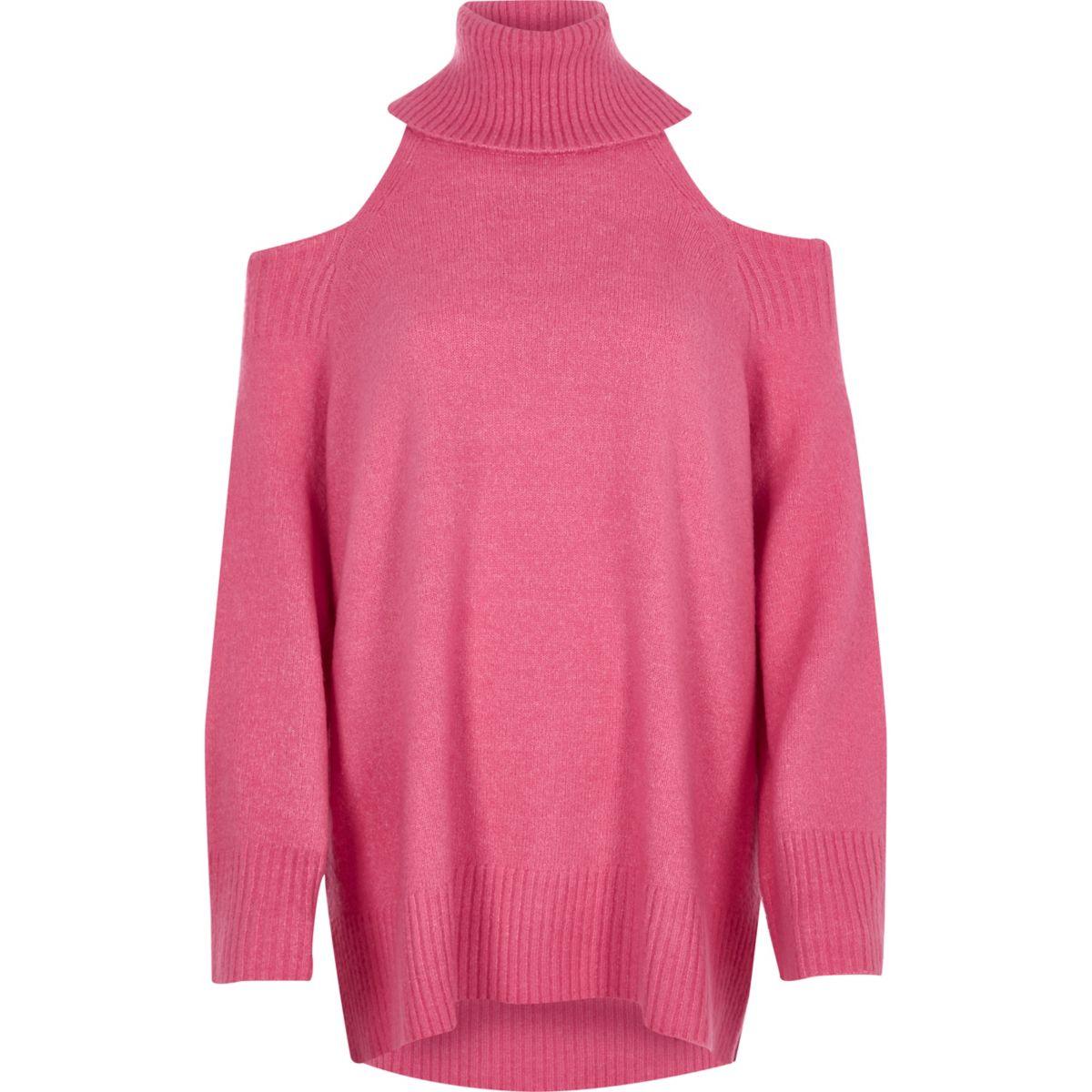 Pink cold shoulder roll neck longline sweater