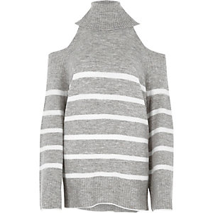 Grey stripe cold shoulder roll neck sweater