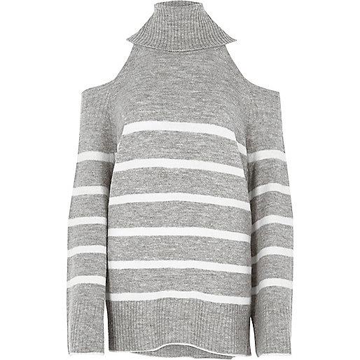 Grey stripe cold shoulder roll neck jumper