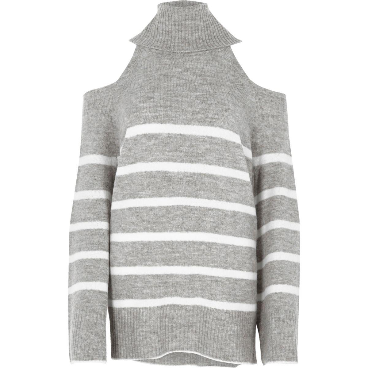 Grey stripe cold shoulder roll neck sweater