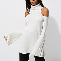 Cream cold shoulder roll neck sweater
