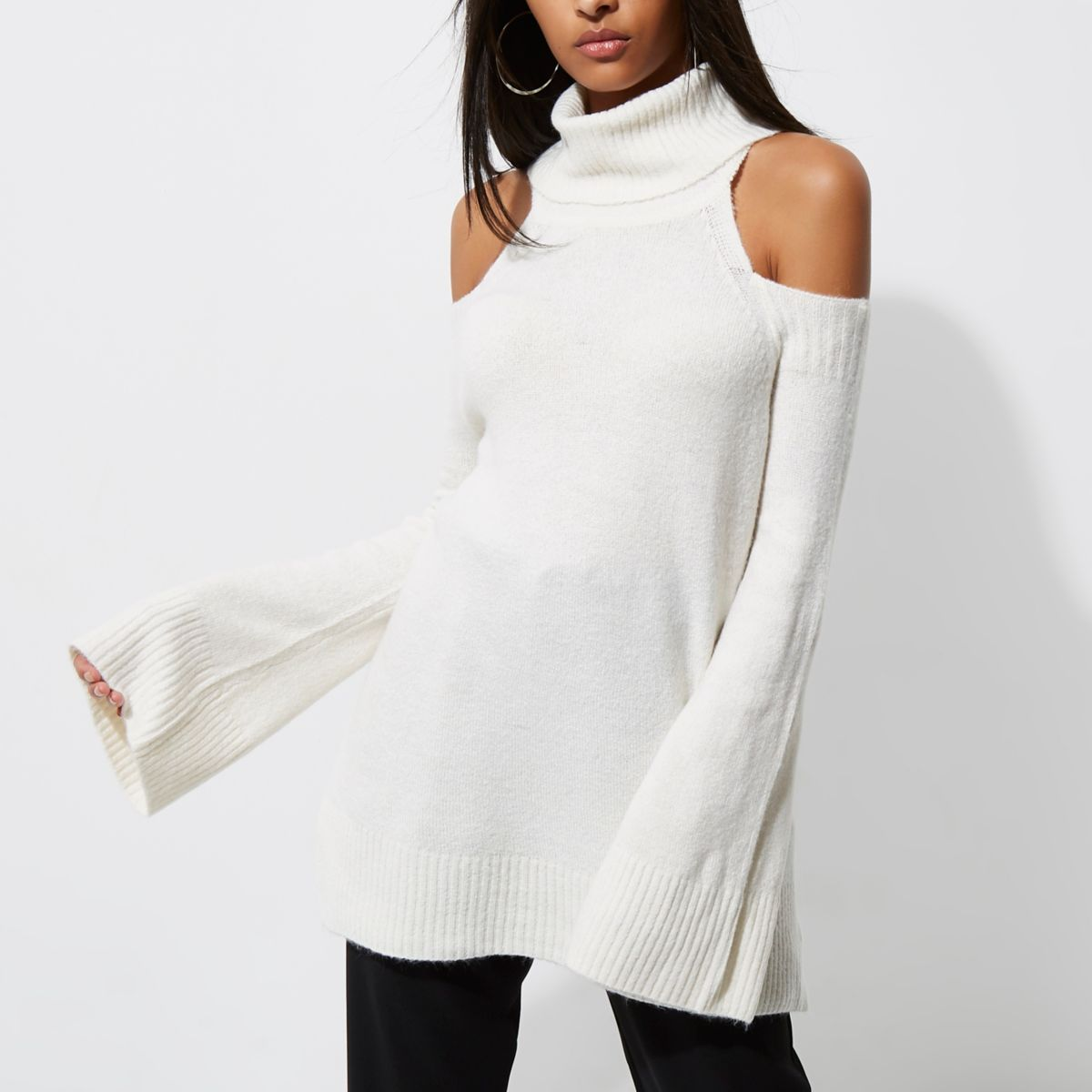 Cream cold shoulder roll neck jumper