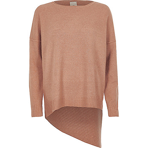 Pink asymmetric hem knit sweater