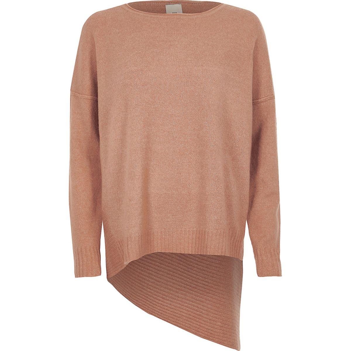 Pink asymmetric hem knit sweater