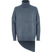 Blue asymmetric hem roll neck sweater