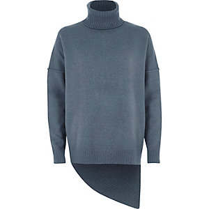 Blue asymmetric hem roll neck jumper