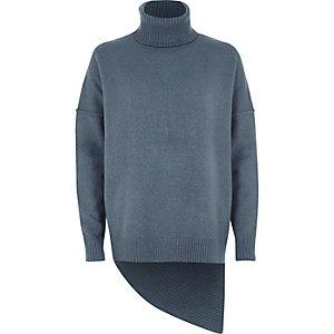 Blauwe pullover met col en asymmetrische zoom